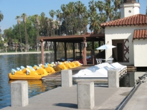 Peddle boats at Echo Park Lake