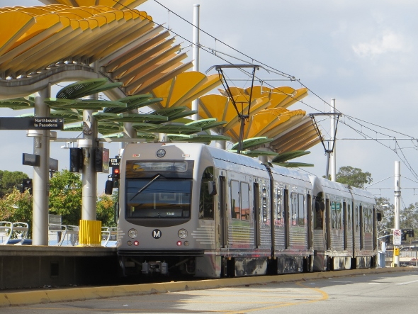 meto train at East Los Angeles gold line station