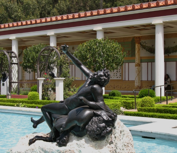 sculpture in reflecting pool Getty Villa