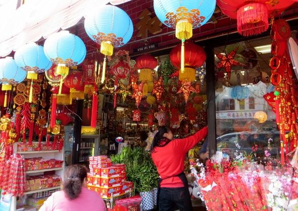 Chinatown storefront with lanterns
