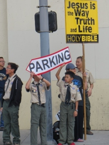 Jesus sign and boys scouts