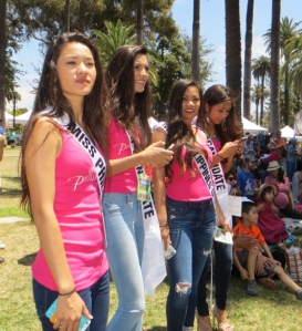 Four young ladies who are candidates for Miss Young Philippines USA were in the audience watching the Lion Dancers.