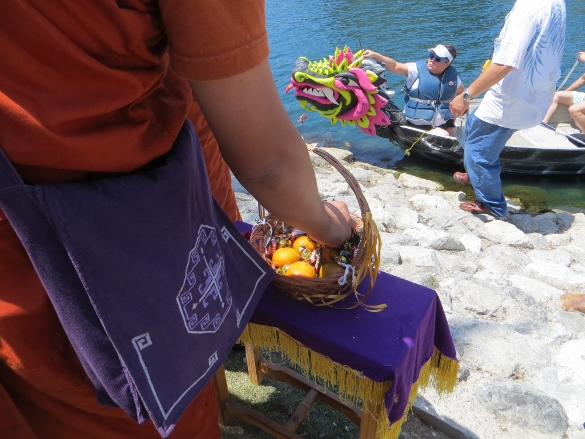 Oranges, choclates and incense for the dragon boats