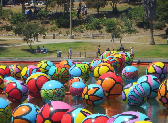Big balls floating on McArthur Park lake