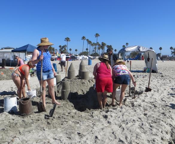 building a sandcastle Long Beach
