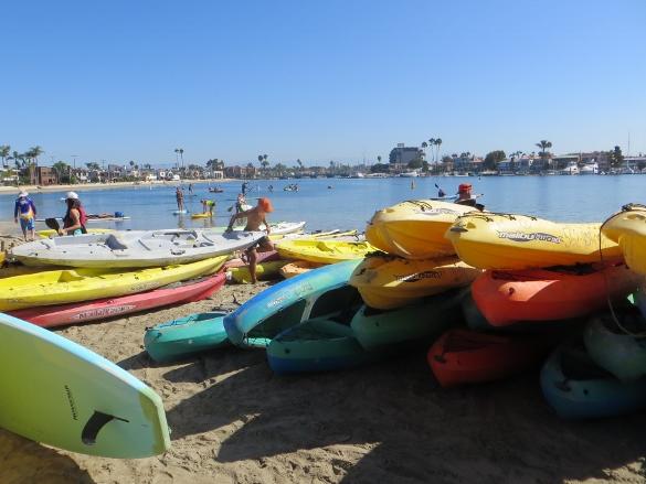kayaks ready to go on alamitos bay