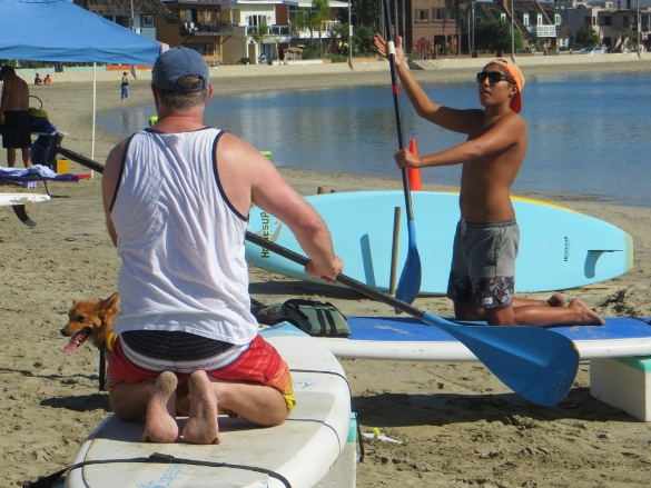 learning how to paddleboard