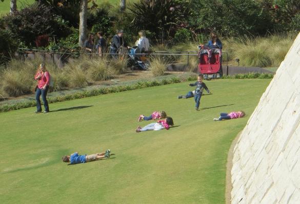Children rolling on Getty lawn