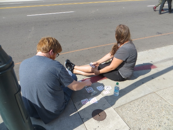 playing rummy on the curb Chinatown Los Angeles
