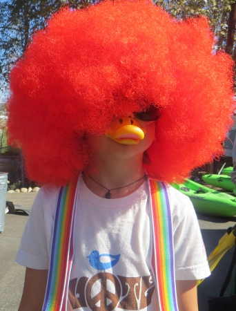 duck-billed boy red wig