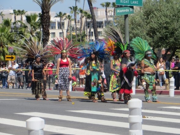 Aztec dancers in procession