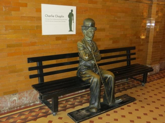 Charlie Chaplin statue Bradbury Building