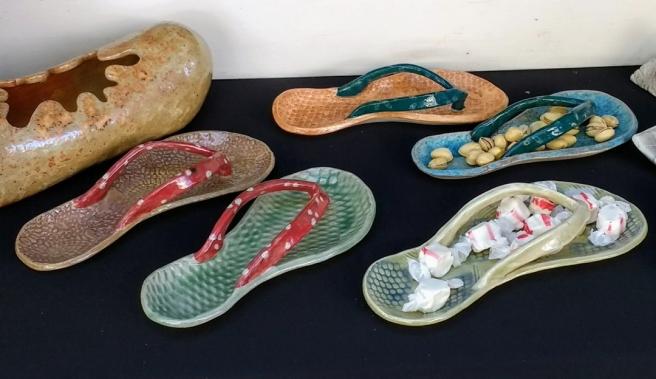 Ceramic snack flip flops by Mariko