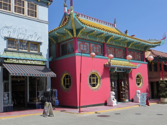 Pink building on plaza chinatown