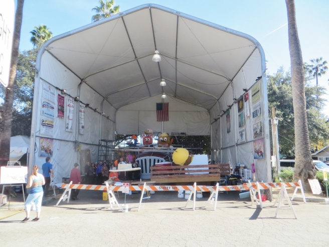 Tented barn South Pasadena Rose Parade float