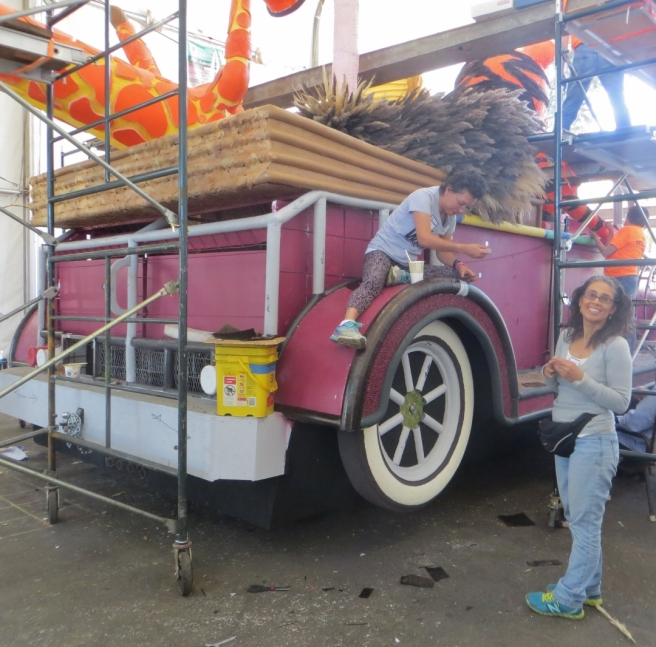 Woman decorating south Pasadena Float