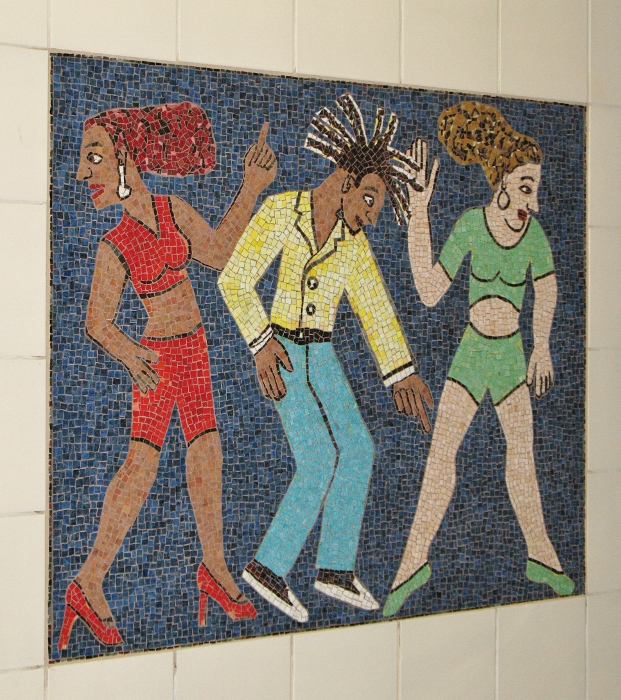 Dancers tile mural civic center station