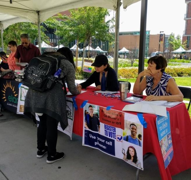 Student registering to vote