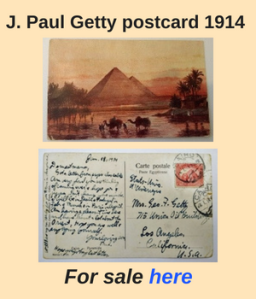 . Paul Getty postcard 1914
