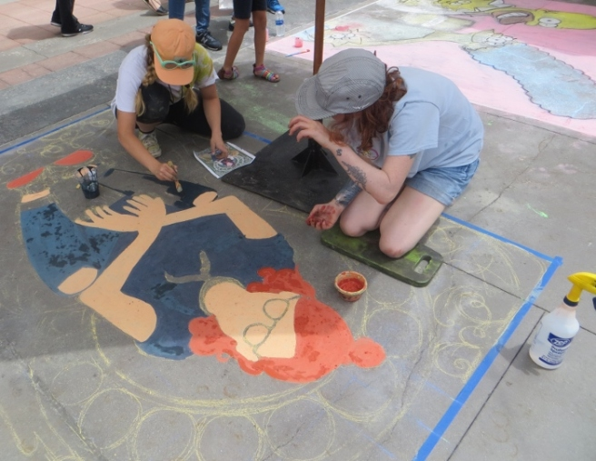 Chalk art painting Pasadena 2018