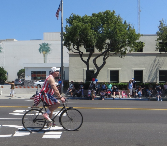 Patriotic cylist South Pasadena parade