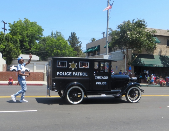 Vintage Police patrol wagon 4th parade (