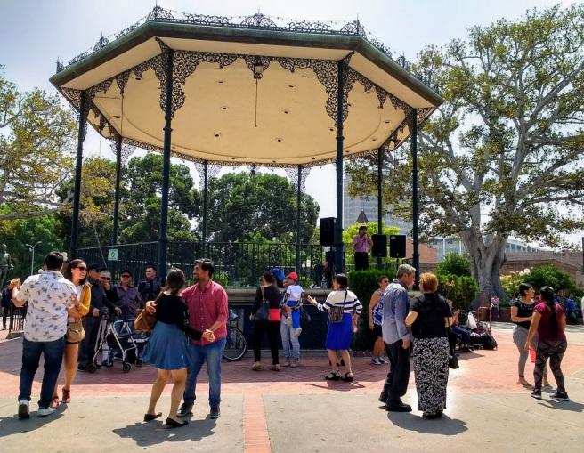 Dancing to Mexican music Olvera Plaza LA City Pix