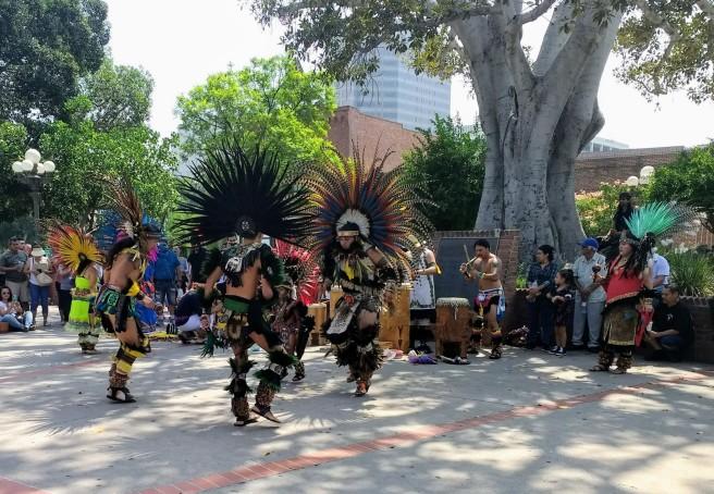 native american dancers at La Placita Olvera st. LA City Pix