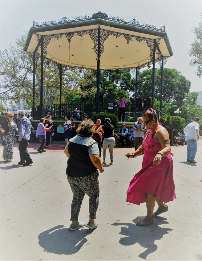 Two women dancing La Placita Olvera St. LA City Pix