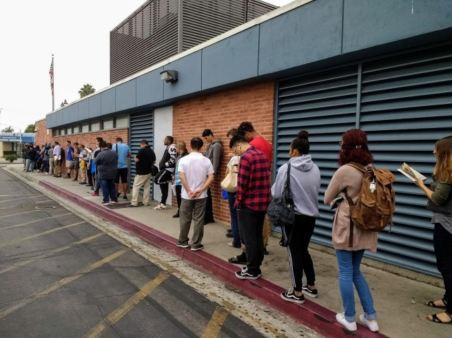 after 8 am the line has moved