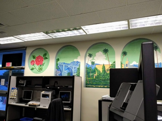 Artistic murals at the back of the DMV on Rosemead