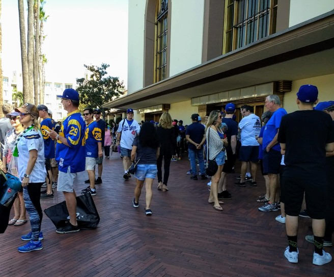 Dodgers, Chargers Ram fans outside Union Station