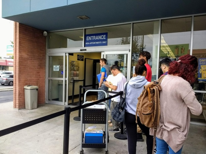 The DMV entrance doorway in sight Sept 2018