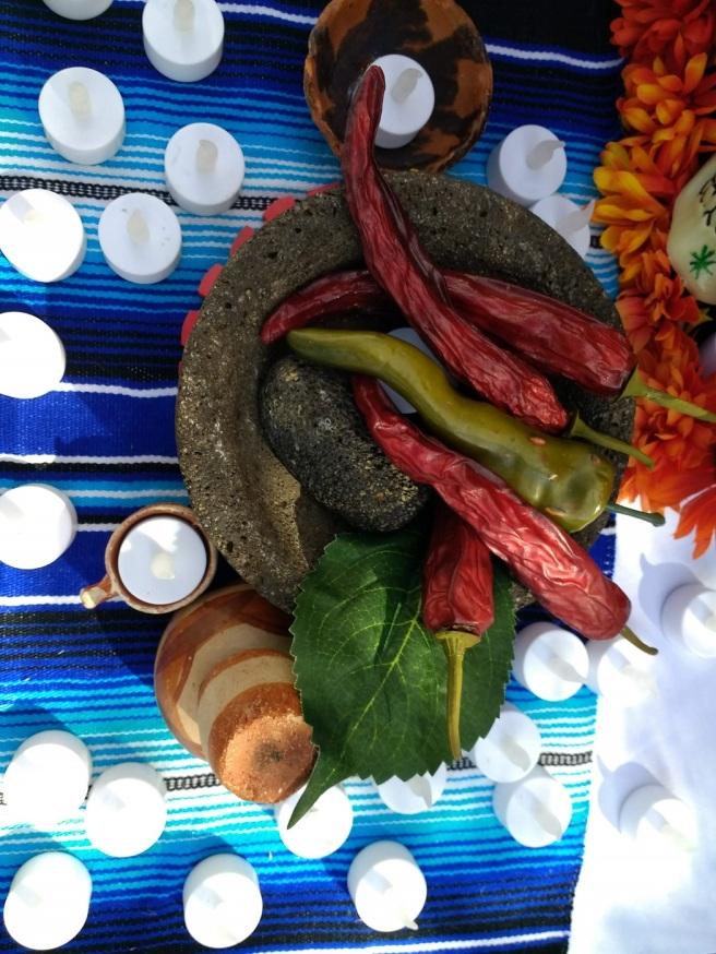 chilis on Dia de los Muertos altar Los Angeles