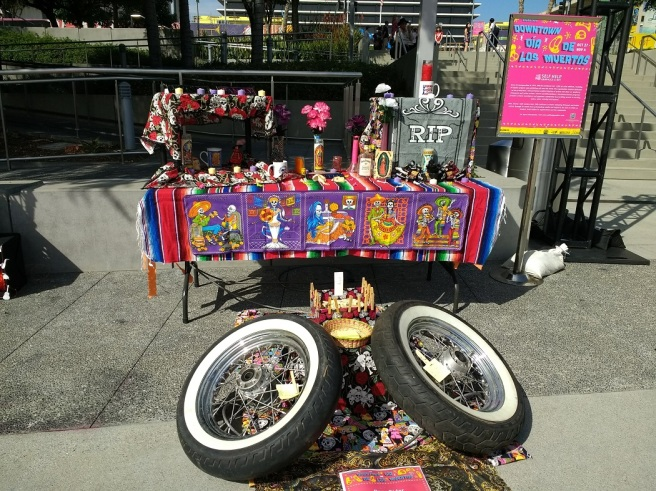 Day of the Dead altar for motorcyclists