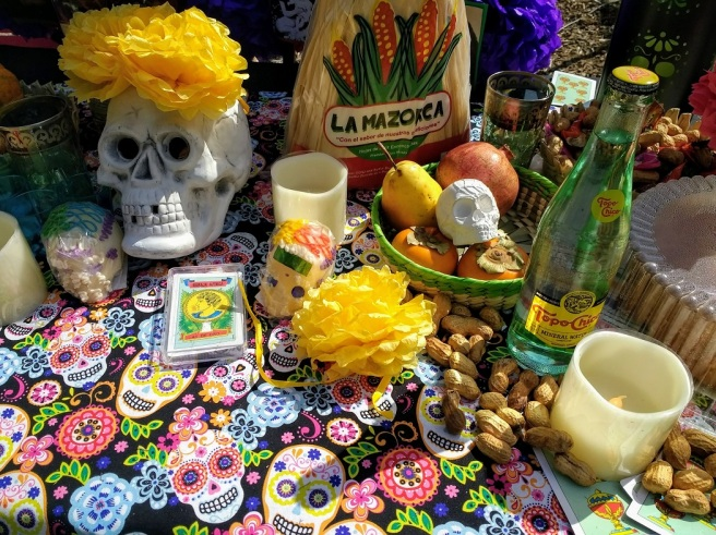 Day of the Dead food on an altar