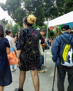 Woman in spider dress Olvera St. LA City Pix