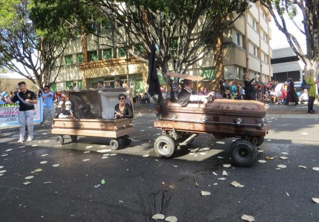 Coffin car and trailer Doo Dah parade