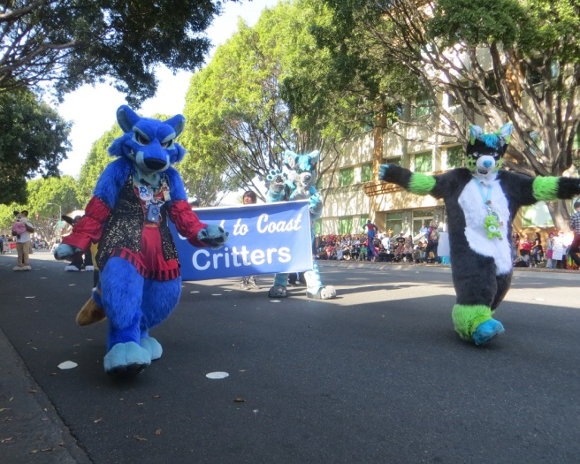 Fuzzy critters at the Doo Dah parade 2018