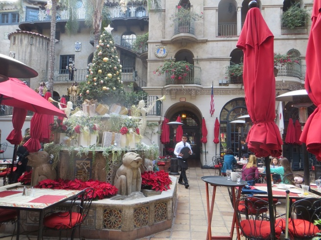 Holiday decorations on a dry fountain Mission Inn