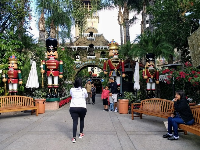 Mission Inn entrance with nutcrackers Festival of Lights