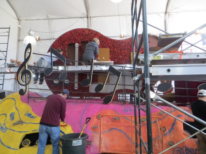 decorating the South Pasadena Rose Parade float